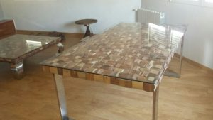 Mesa comedor a medida acero inoxidable madera y cristal 1